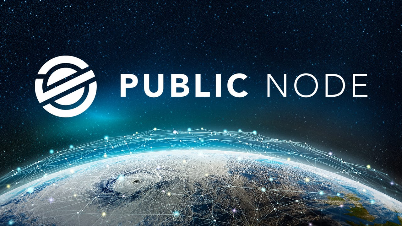 Earth with nodes and Public Node logo