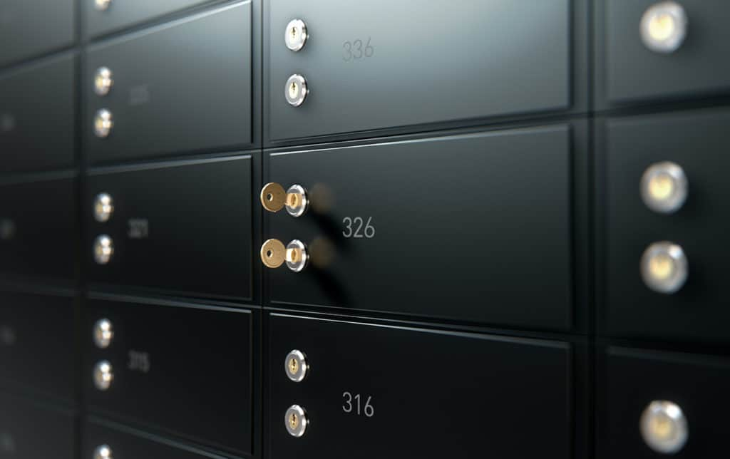 Bank safety deposit box with two keys