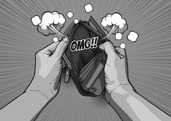 Person opening wallet that has no money in it 'OMG'