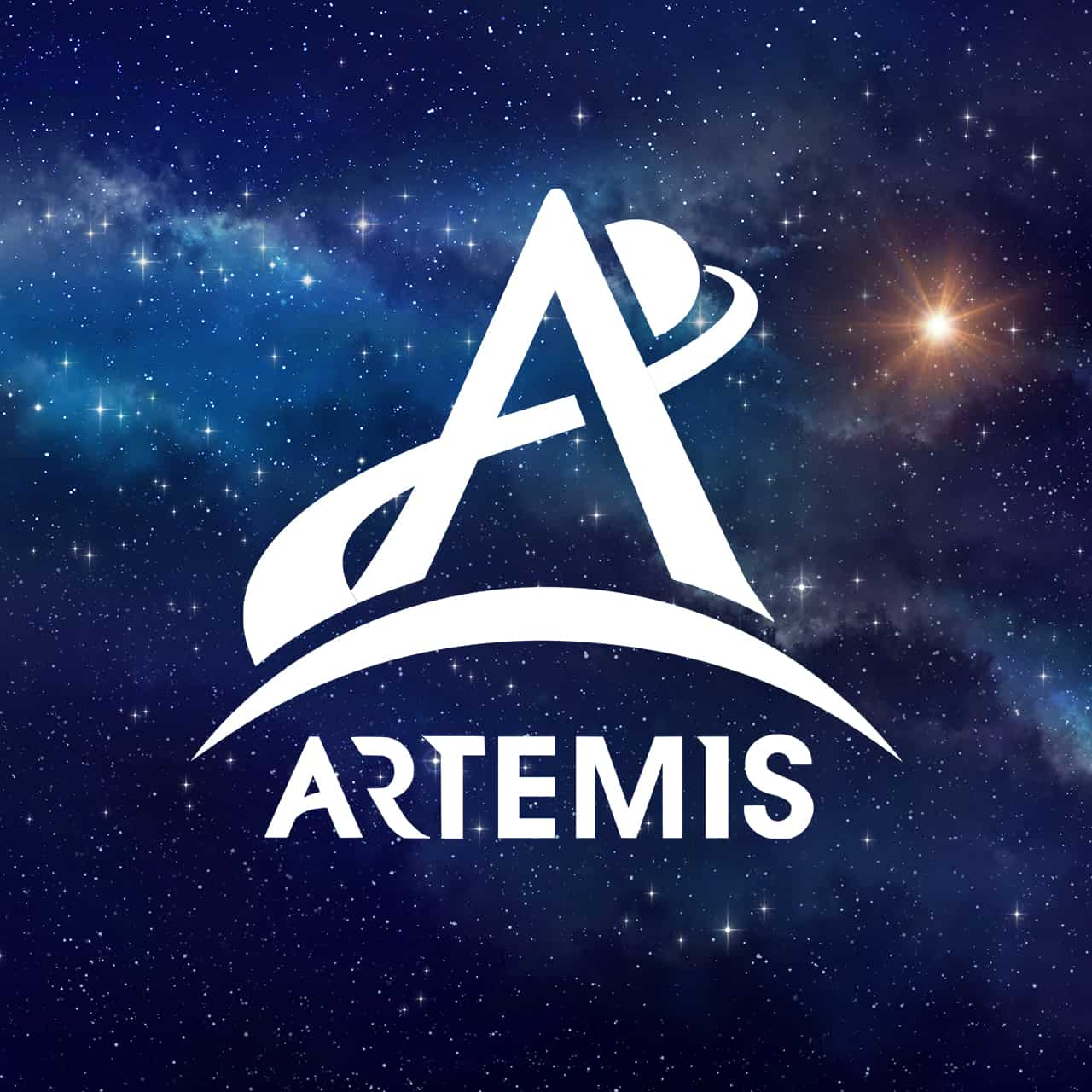 Stars with Artemis NASA Logo