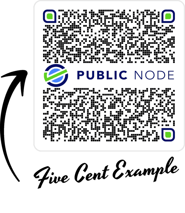 Public Node five cent example payment QR code