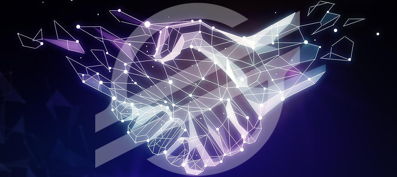 blockchain hands shaking with Stellar logo
