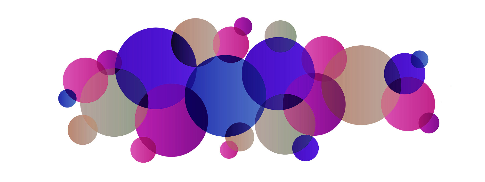 Group of circles overlapping each other